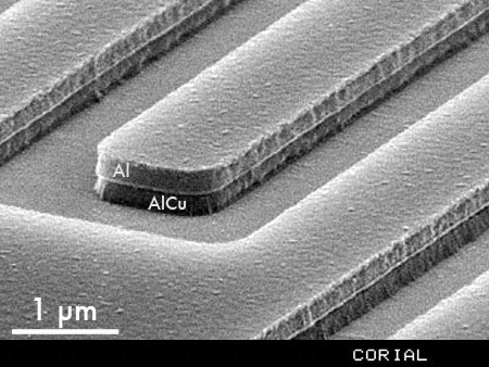 Al/Cu etch with RIE plasma technology, on 150 mm wafer